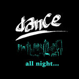 Vector dance studio logo. Dance club icon. Music. Rhythm. Dance floor, dance pool icon. Night disco bar, club logo icon. Hand drawn city scape. Pole dance Royalty Free Stock Photos