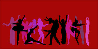 Vector dancer background. Vector image of different dancer Stock Photo