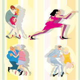 Vector dancing couples Royalty Free Stock Photos