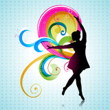 Vector dancing girl. On beautiful background Royalty Free Stock Image