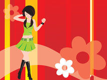 Vector dancing girl and floral, wallpaper Royalty Free Stock Photography