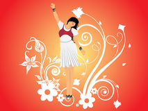 Vector dancing girl and floral, wallpaper Royalty Free Stock Images