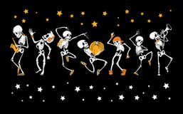 Vector dancing and musical skeletons Haloween set collection. Great for spooky fun party themed designs, gifts. Packaging. Holiday elements Royalty Free Stock Photos