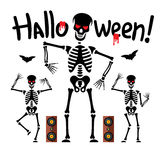 Vector Dancing skeletons Cartoon Illustration. Royalty Free Stock Image