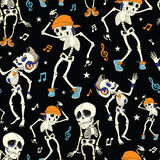Vector Dancing Skeletons Party Halloween Seamless Stock Images