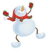 Vector dancing snowman. Stock Photo