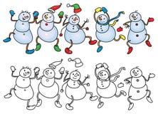 Vector dancing snowmen. Vector funny dancing snowmen for coloring and Christmas design Royalty Free Stock Image