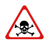 Vector danger sign with skull and crossbones Stock Images