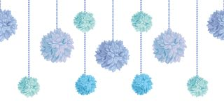 Vector Dangling Blue Bay Boy Birthday Party Paper Pom Poms Set Horizontal Seamless Repeat Border Pattern. Great for. Handmade cards, invitations. Party decor Stock Image