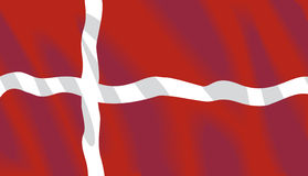 Vector Danish Flag. Waving flag of Denmark in vector format Royalty Free Stock Photos