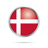 Vector Danish flag Button. Denmark flag in glass button style. Royalty Free Stock Image
