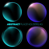 Vector Dark Abstract Background. Black Open Space with Shiny Round Futuristic Placeholder and Glow Effect. For Music Poster, Night Club Flyer, Infographic Stock Images