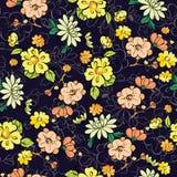 Vector Dark Background Kimono Gold Flowers Stock Photography