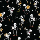 Vector dark black dancing and plating music skeletons   Stock Photography