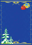 Vector dark blue card with new year tree and gift. Dark blue  card with new year tree and gift Stock Photography
