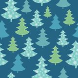 Vector dark blue, green scattered christmas trees winter holiday seamless pattern. Great for fabric, wallpaper Royalty Free Stock Images