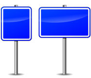 Vector dark blue signpost. Vector illustration of dark blue signpost on white background Royalty Free Stock Photography