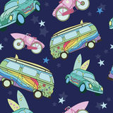 Vector Dark Blue Surfboards On Transport Cars. Bicycles Vans Seamless Pattern. Fun. Hippie. Sport. Surfing. Hawaii. California. Graphic Design Royalty Free Stock Image