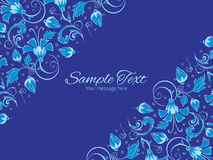 Vector dark blue turkish floral horizontal double Stock Images
