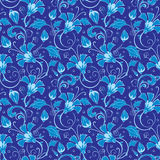 Vector dark blue turkish floral seamless pattern Royalty Free Stock Photo