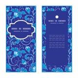 Vector dark blue turkish floral vertical frame Royalty Free Stock Images