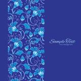 Vector dark blue turkish floral vertical frame Stock Photography