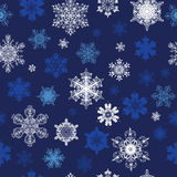 Vector Dark Blue White Snowflakes Winter Holidays Stock Photography