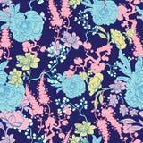 Vector Dark Blue Yellow Pink Kimono Floral Stock Photo