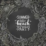 Summer beach party. Hand-written chalk brush lettering. Vector dark chalkboard background with underwater fish, wild animals and plants. Round frame Royalty Free Stock Images