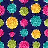 Vector Dark Colorful Decorative Hanging Pompoms Seamless Repeat Pattern. Great for handmade cards, invitations Royalty Free Stock Photos