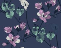 Vector Colorful Seamless Pattern with Drawn Flowers Royalty Free Stock Photos