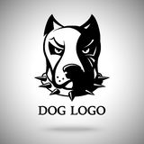 Vector dark dog head in spiked collar, template for logo, badge, label etc. Vector dark dog head in spiked collar, template for logo, badge, label etc royalty free illustration