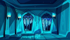 Vector castle ballroom at night, gothic hall. Vector dark gothic castle ballroom with stained-glass window. Hall for dancing, presentation or royal reception royalty free illustration