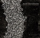 Vector dark grunge seamless music background Royalty Free Stock Images