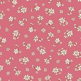 Vector dark pink hand drawn flowers repeat pattern. Suitable for gift wrap, textile and wallpaper stock illustration