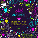 Vector dark purple love and peace theme background  Royalty Free Stock Photo