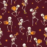 Vector dark red dancing and plating music skeletons band Haloween repeat pattern background. Great for spooky fun party. Themed fabric, gifts, giftwrap. Textile Royalty Free Stock Photography