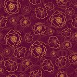 Vector dark red seamless pattern with fall flowers. Background for fabric or book covers, manufacturing, wallpapers Royalty Free Stock Photos
