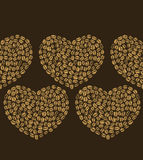 Vector dark seamless background with coffee hearts Stock Photography