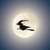 Vector. Dark Witch on Broomstick Stock Images