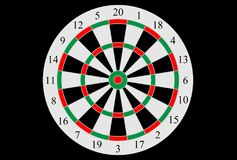 Vector dart board. On black background Stock Image