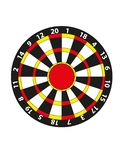Vector dart board flat vector. Vector illustrated dart board on white bacgkround stock illustration