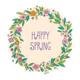 Vector das Beschriften von Heppy-Frühling mit dekorativen Blumenelementen auf weißem und beige Hintergrund, Hand gezeichneter Kra Lizenzfreie Stockfotografie