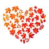 Vector das Herz, das vom Herbstlaub auf weißem Hintergrund in der Schmutzart gemacht wird Stockfotos