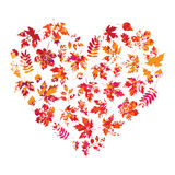 Vector das Herz, das vom Herbstlaub auf weißem Hintergrund in der Schmutzart gemacht wird Lizenzfreie Stockbilder
