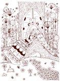 Vector das Illustration zentangl Frauenmädchen, das unter Baum ithe Wald schläft Lizenzfreie Stockfotos