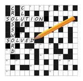 Vector das Kreuzworträtsel-Gitterteil, das mit Wörtern und einem Bleistift abgeschlossen wird Lizenzfreies Stockbild