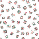 Vector das nahtlose Muster von Hand gezeichneten Kind-` s Alphabetes verziert mit Blumen Buchstaben des Gekritzels 3D ABC-Gusshin Stockfotos