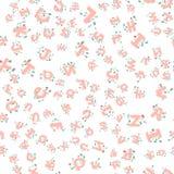 Vector das nahtlose Muster von Hand gezeichneten Kind-` s Alphabetes verziert mit Blumen Buchstaben des Gekritzels 3D ABC-Gusshin Stockfotografie