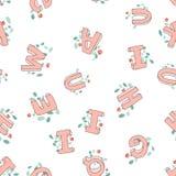 Vector das nahtlose Muster von Hand gezeichneten Kind-` s Alphabetes verziert mit Blumen Buchstaben des Gekritzels 3D ABC-Gusshin Stockfoto
